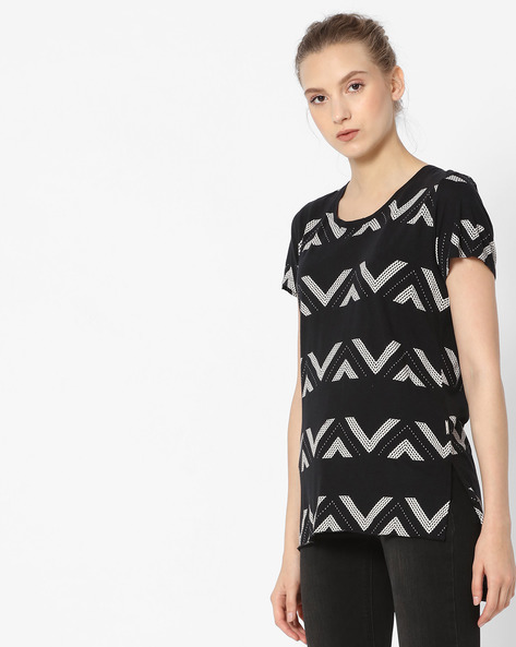 Printed High-Low T-shirt By Lee ( Black )