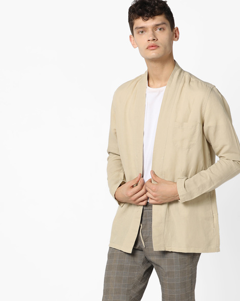 Open-Front Shacket With Shawl Lapel By AJIO ( Natural )