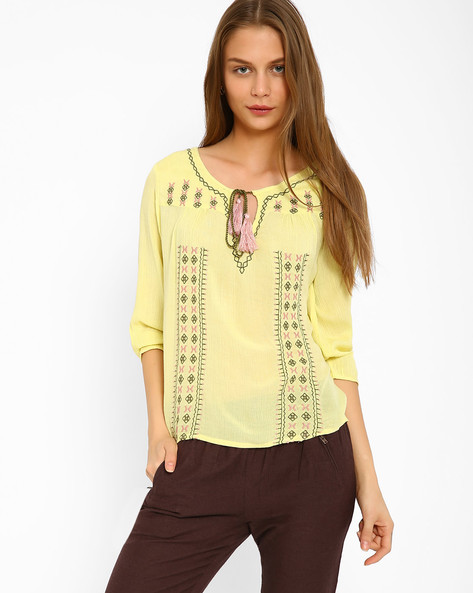 Embroidered Top With Tie-Ups By Oxolloxo ( Yellow )