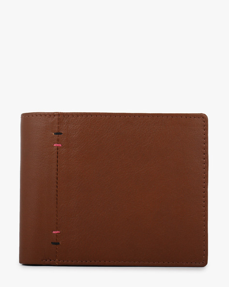 Textured Leather Bi-Fold Wallet By TEAKWOOD LEATHERS ( Darkbrown )
