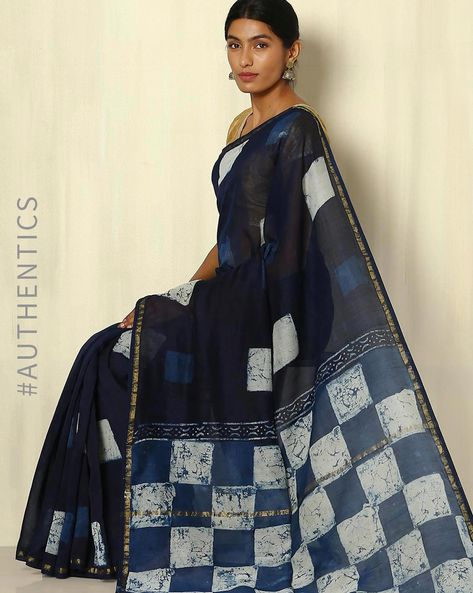 Handblock Print Indigo Chanderi Saree With Zari Border By Indie Picks ( Indigo ) - 460053746001