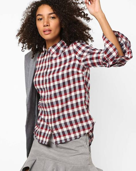Checked Shirt With Bell Sleeves By Only ( White )