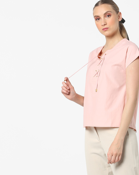 Top With Front Lace-Up By AJIO ( Peach )