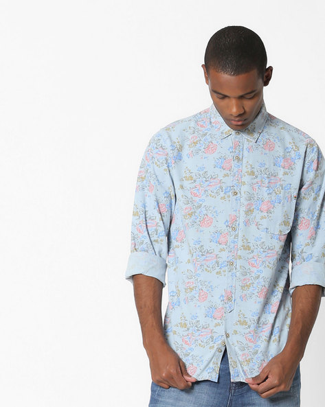 Floral Print Cotton Shirt By UNITED COLORS OF BENETTON ( Blue ) - 460142411001