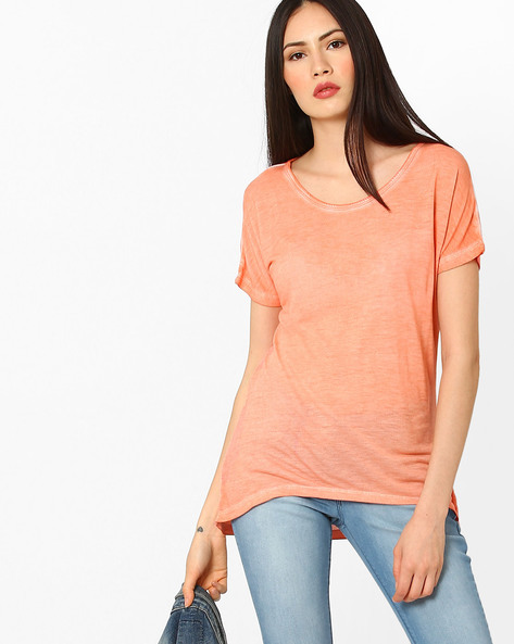 Crew-Neck Top With High-Low Hem By Fame Forever ( Coral )