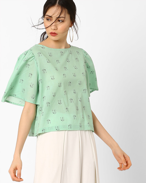 Printed Top With Flared Sleeves By AJIO ( Lightgreen )