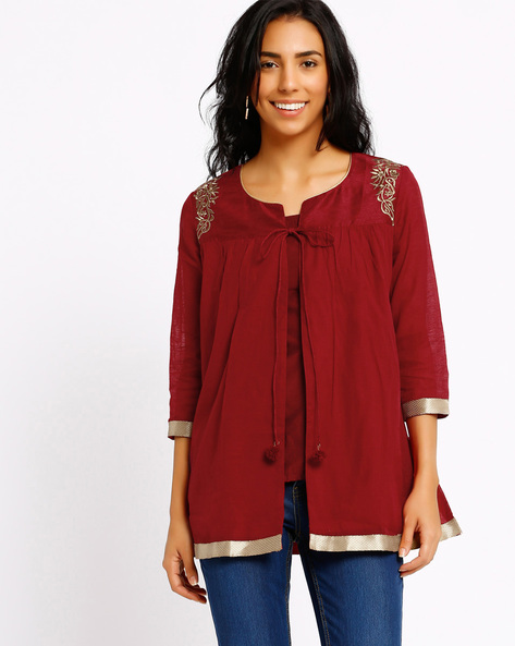 Ethnic Shrug By AJIO ( Maroon )