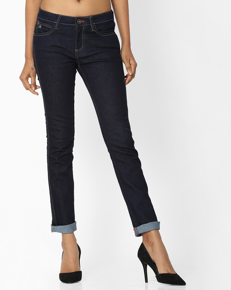 Ankle-Length Skinny Jeans With Upturned Hems By WRANGLER ( Blue )