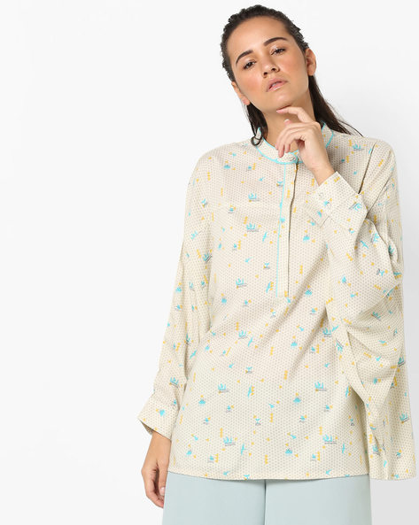 Printed Boxy Tunic With Band Collar By AJIO ( Offwhite )