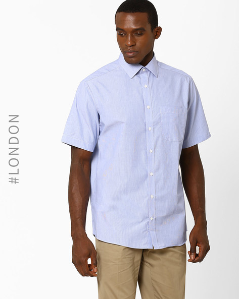 Striped Easy-To-Iron Casual Shirt By Marks & Spencer ( Lightblue )