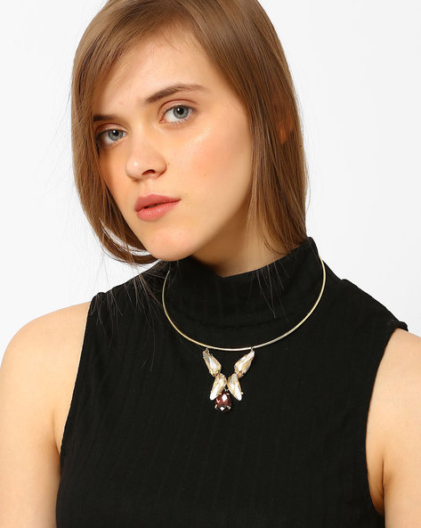 Collar Necklace With Rhinstones By Ssoul ( Gold )