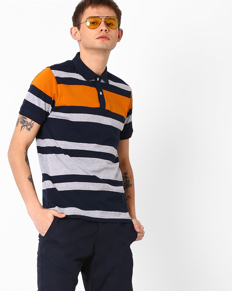 Muscle Fit Striped Polo T-shirt By BASICS ( Navy )