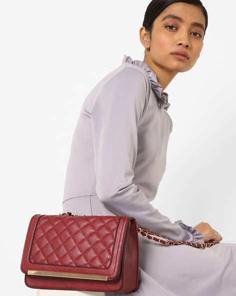 Quilted Sling Bag By Diana Korr ( Maroon )