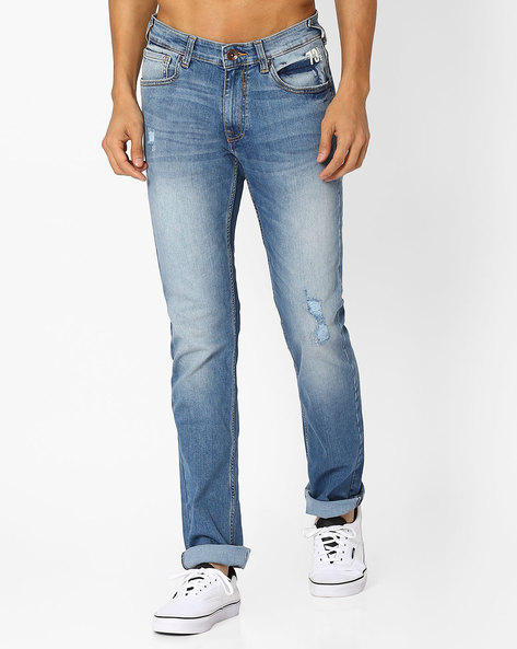 Mid-Washed Skinny Jeans By Pepe Jeans ( Blue )
