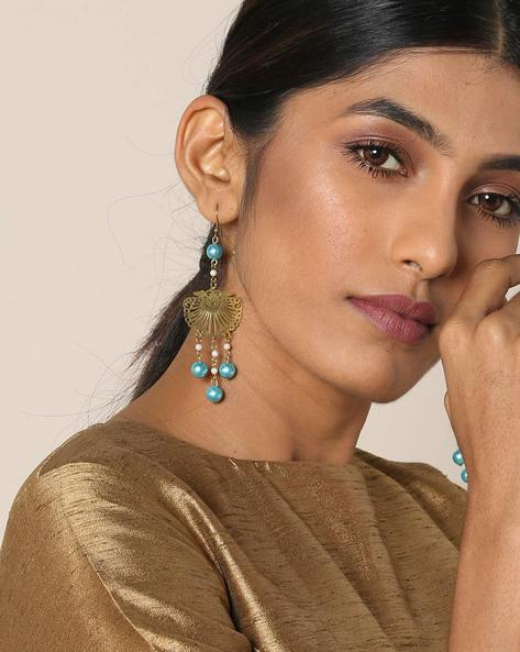 Gold-Plated Drop-Earrings With Cut Work By Courtyard ( Multi ) - 460097051001