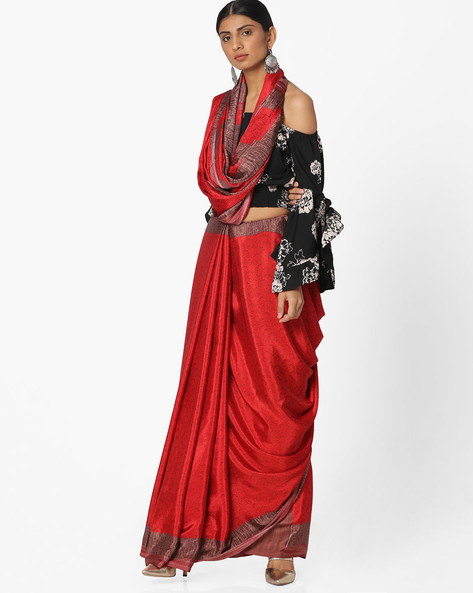 Printed Crepe Saree By Majestic Silk ( Red )