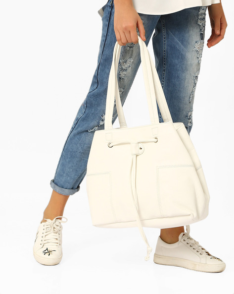 Panelled Tote With Drawstring Closure By Pockit ( White )