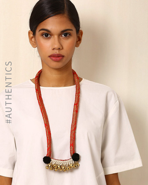 Handcrafted Designer Necklace In Brocade & Ghungroo By Addoz ( Multi )