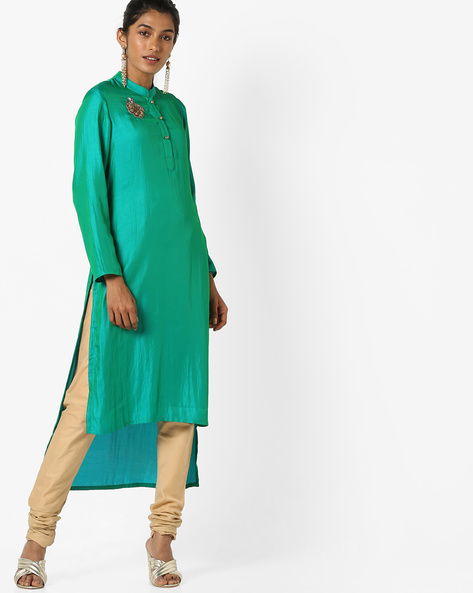 Embroidered Straight Kurta With Step Hemline By AJIO ( Green )
