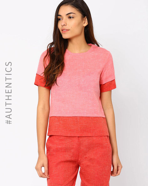 Khadi Top By Red Sister Blue ( Peach )