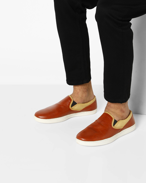 Slip-On Sneakers With Elasticated Gussets By ESCARO ( Tan )