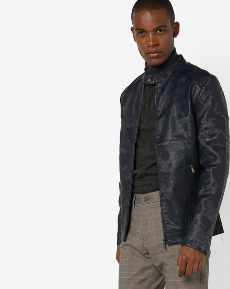 Camouflage Print Slim Fit Biker Jacket By The Indian Garage Co ( Navy )