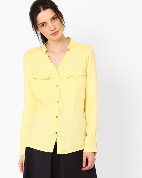 Shirt With Flap Pockets By AJIO ( Yellow )