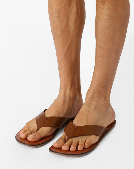 Textured Leather Sandals By ARROW ( Tan )