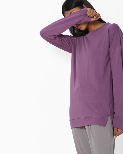 Drop-Shouldered Sweatshirt With Vented Hem By Blue Saint ( Purple )