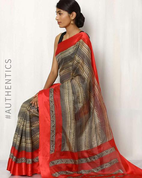 Pure Silk Printed Saree By Rudrakaashe-MSU ( Beige )