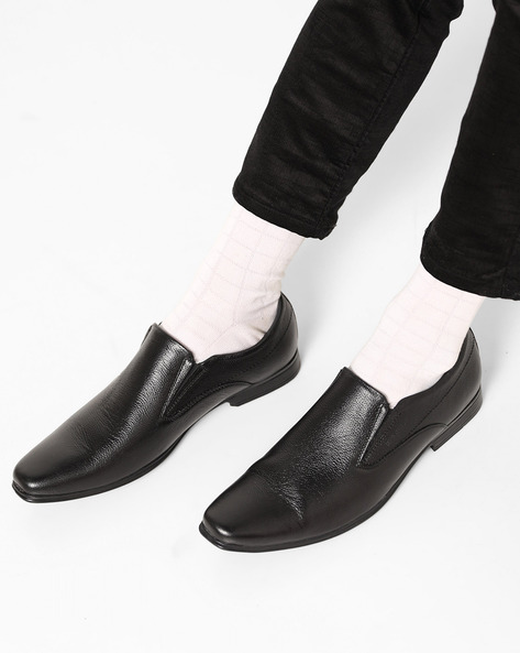 Genuine Leather Textured Slip-On Shoes By RED CHIEF ( Black )