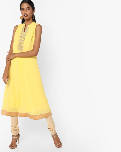 A-line Kurta With Embroidered Placket By AJIO ( Yellow )