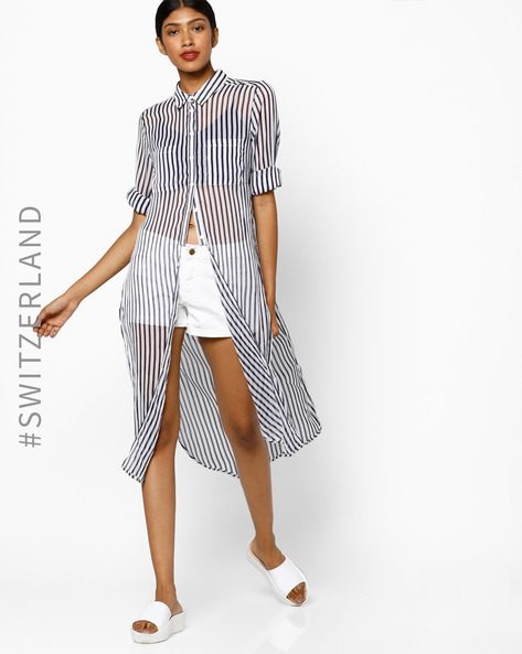 Striped Tunic With Patch Pockets By TALLY WEiJL ( Blue )