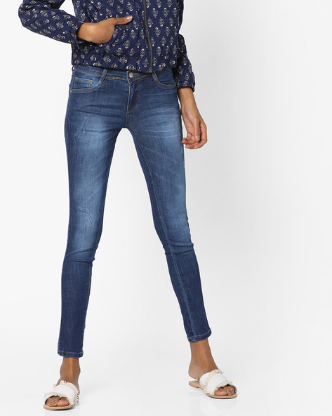 Lightly Washed Distressed Skinny Jeans By KRAUS ( Blue )