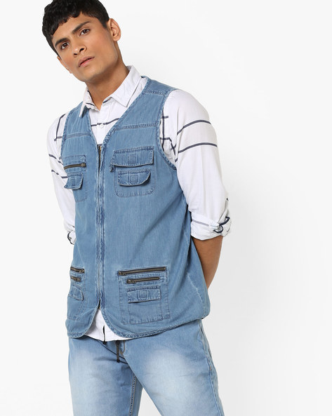 Zip-Front Sleeveless Denim Jacket By AJIO ( Lightblue )