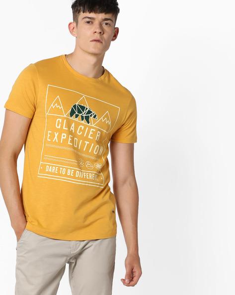 Graphic Print Crew-Neck Shirt By AJIO ( Yellow ) - 460088980005
