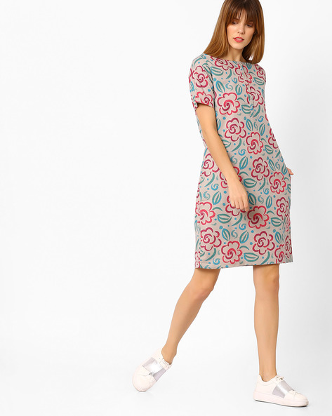 Floral Print Shift Dress By Vajor ( Multi )