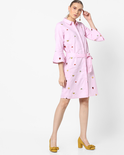 Embroidered Shirt Dress With Waist Tie-Up By AJIO ( Lightpink )