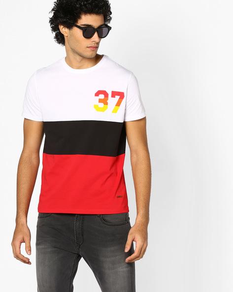 Cut & Sew Colourblock T-shirt By AJIO ( Red )
