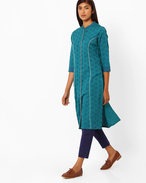 Printed Cotton Straight Kurta By AJIO ( Teal )