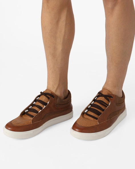 Panelled Sneakers With Lace-Ups By Knotty Derby ( Tan )