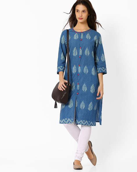 Printed Kurta With Mock Button Placket By SIYAHI ( Ltblue )
