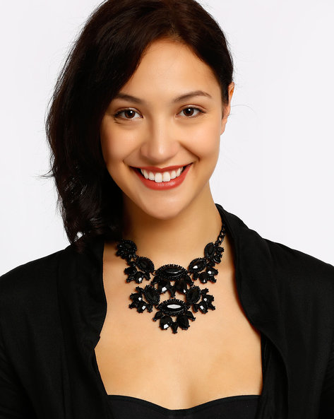 Beaded Statement Necklace By Style Fiesta ( Black )