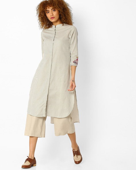 Striped Straight Kurta With High-Low Hem By Global Desi ( Natural )