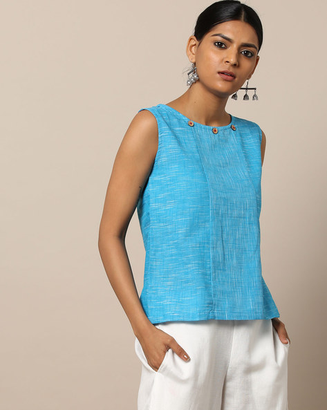 Sleevless South Cotton Top With Button Accents By Indie Picks ( Blue )