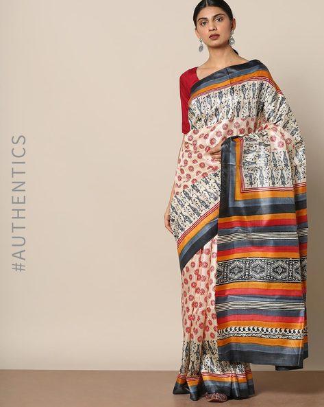 Handloom Pure Silk Tussar Printed Saree By Indie Picks ( Multi ) - 460147003001