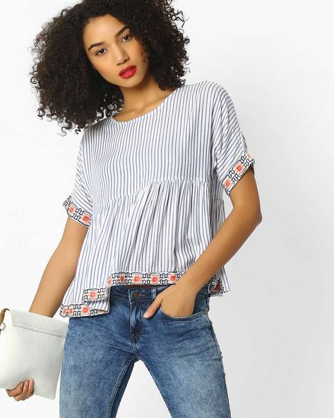Striped Peplum Top With Embroidery By Rena Love ( Blue )