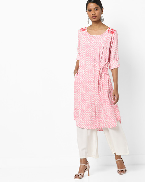 Printed Button-Down A-Line Kurta With Tie-Up By AJIO ( Pink )
