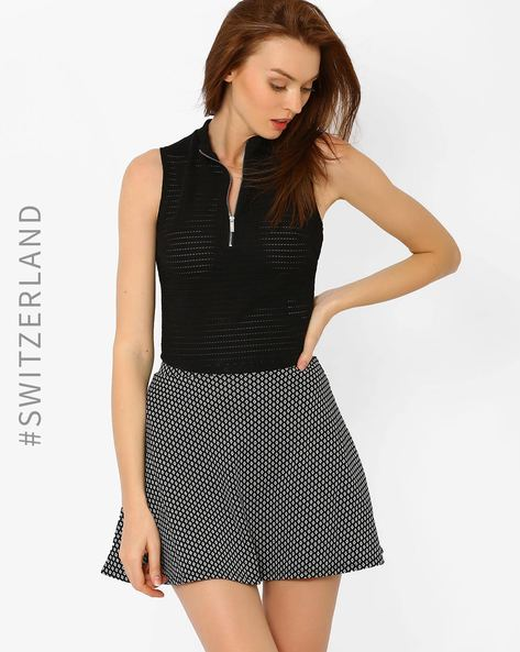 Sheer Knit Top With Zip By TALLY WEiJL ( Black )