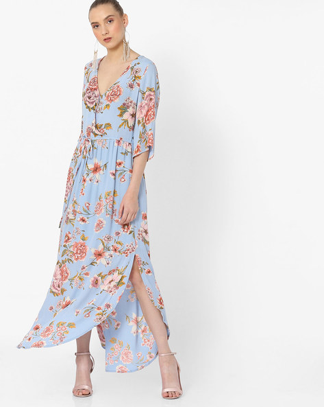 Floral Print Maxi Dress With High Slits By Rena Love ( Blue )